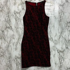 Forever 21 Deep red & black lace sleeveless Dress